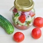 Салат за 15 минут из помидор и огурцов на зиму