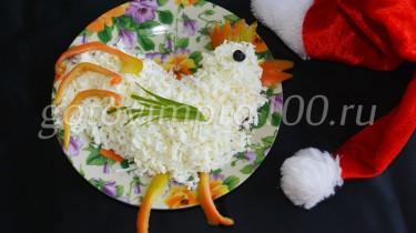 салат в виде петуха рецепт