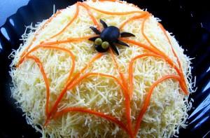 салат в виде паутинки