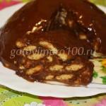Торт из печенья с шоколадной глазурью без выпечки