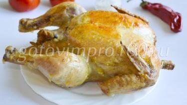 Курица запеченная целиком рецепт с фото